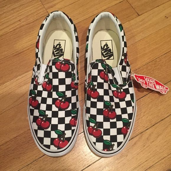 441351817fd Can slip on checker cherry shoes NWT Vans slip-ons canvas cherry checkers  NWT Vans Shoes Sneakers