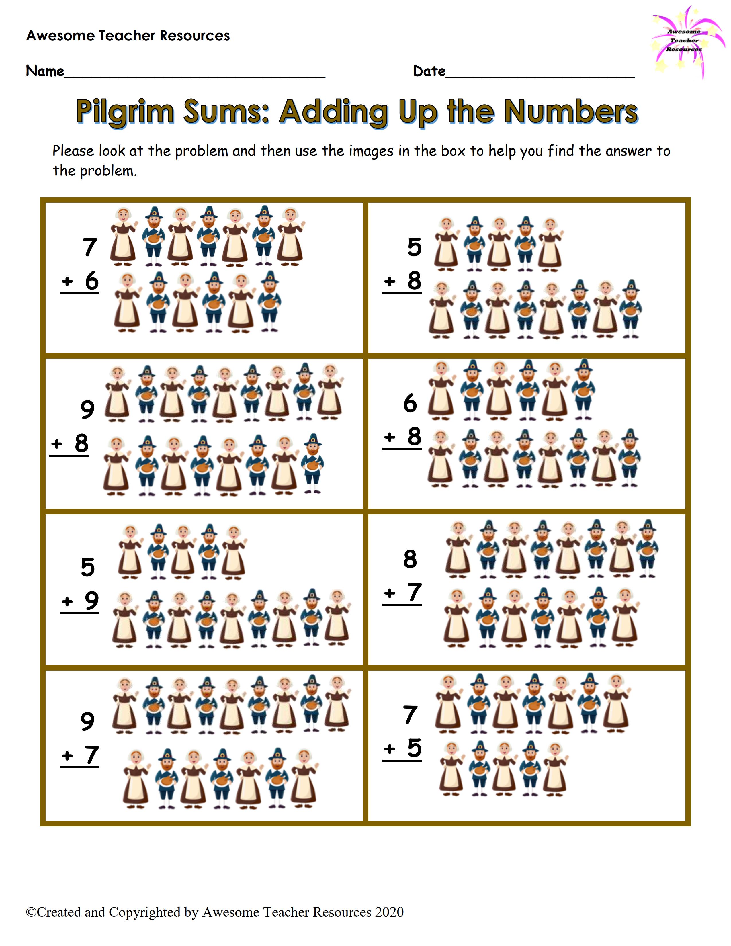 Pilgrim Sums Adding Up The Numbers Worksheet In 2020 Teacher Resources Number Worksheets Best Teacher [ 3300 x 2550 Pixel ]