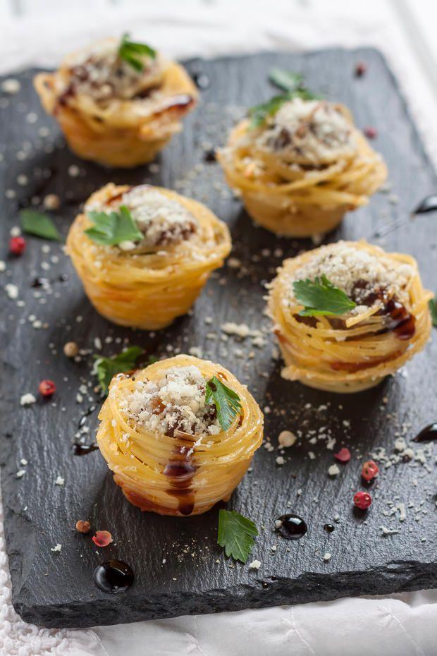 Ausgefallenes Fingerfood: Spaghetti-Muffins #fingerfoodrezepteschnelleinfach