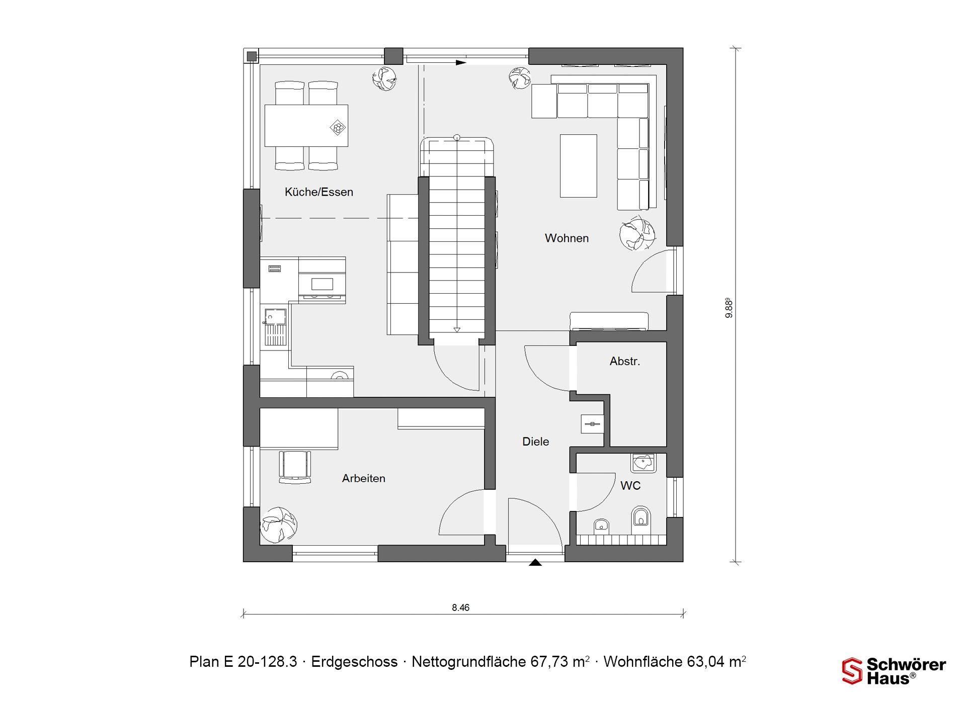 Fertighaus mit 120 qm E 20128.3 SchwörerHaus