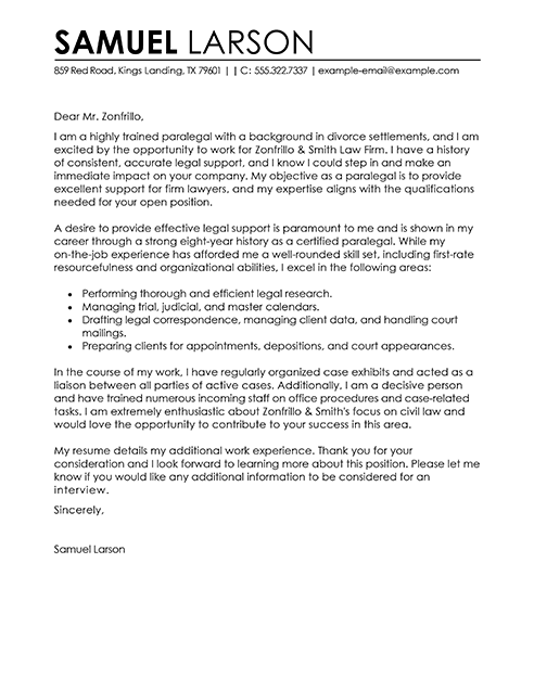 Paralegal Cover Letter Examples Legal Sample Cover Letters
