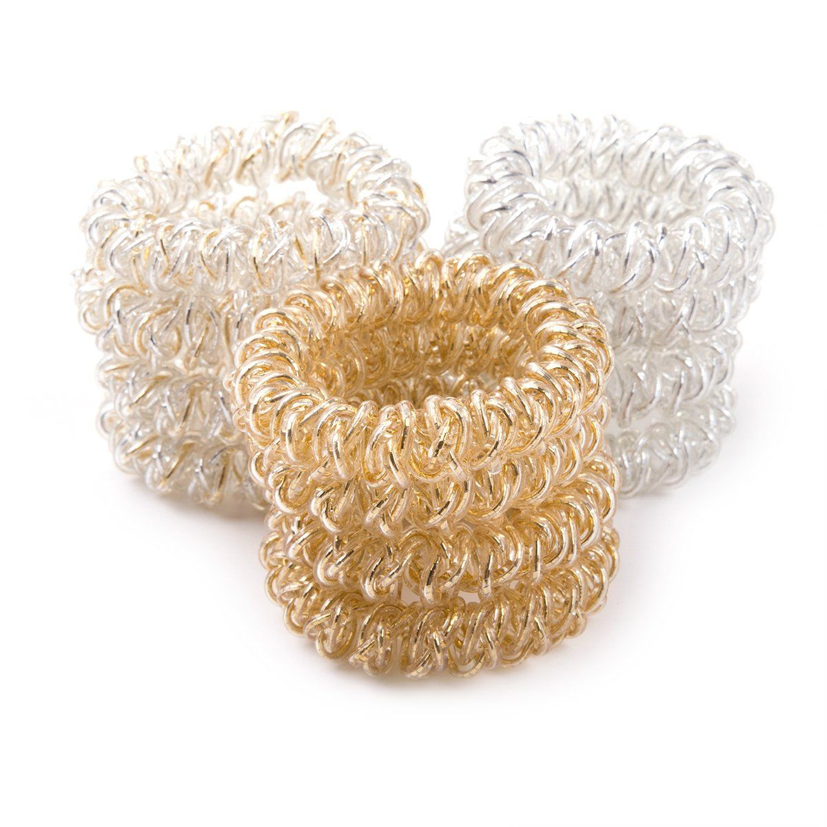 12pcs Rubber Metallic Coil Telephone Wire Ponytail Holder Hair Ties Elastic Band