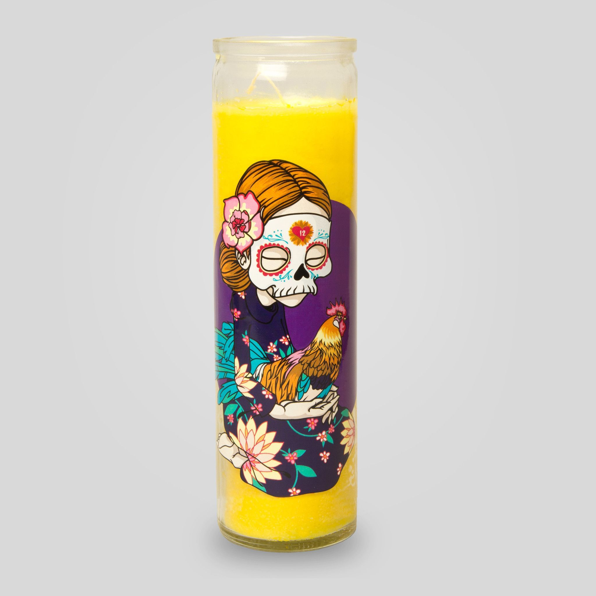 Day of the Dead Candle in Yellow by Sam Flores