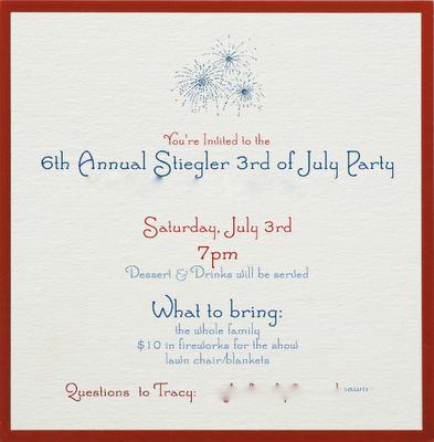 3rd of July invitation - like the font and fireworks.