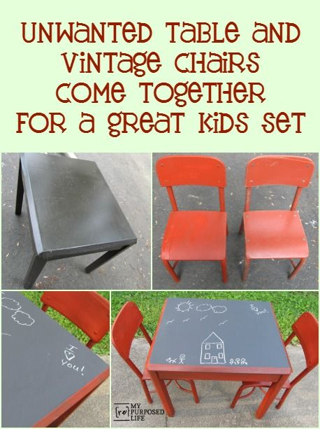 Easy DIY Kids Table And Chairs Using Free And Thrifted Items. Old Side  Tables Make Great Chalkboard Tables For The Kids.