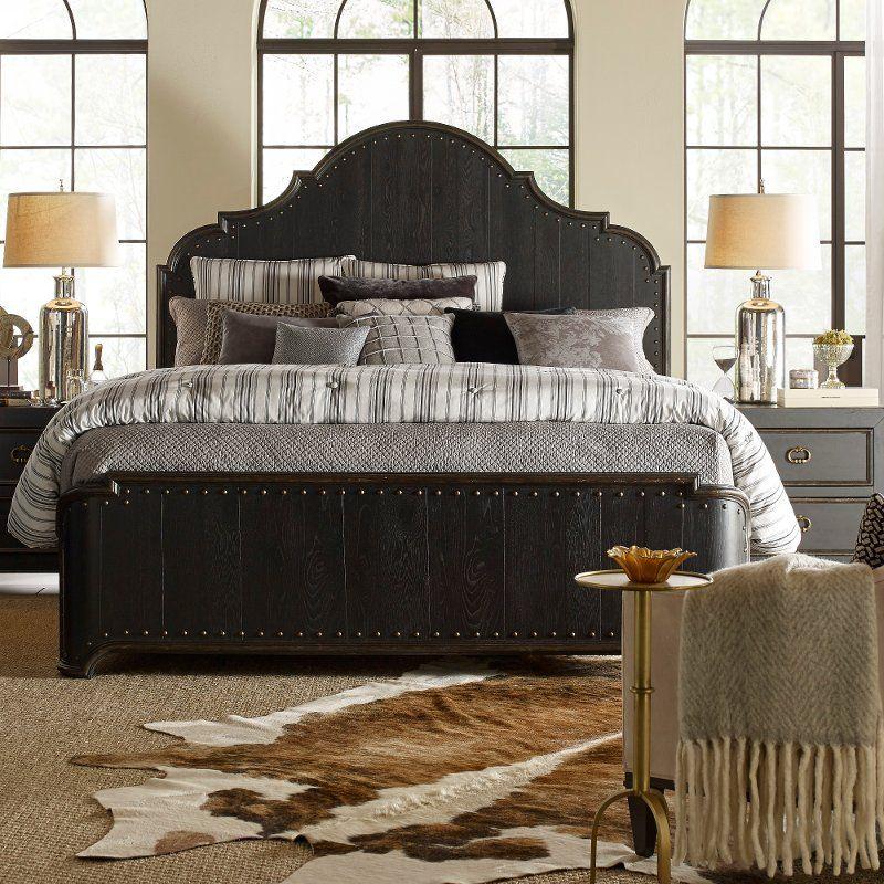 Best Rustic Traditional Black Queen Bed Bishop Hills Black 400 x 300