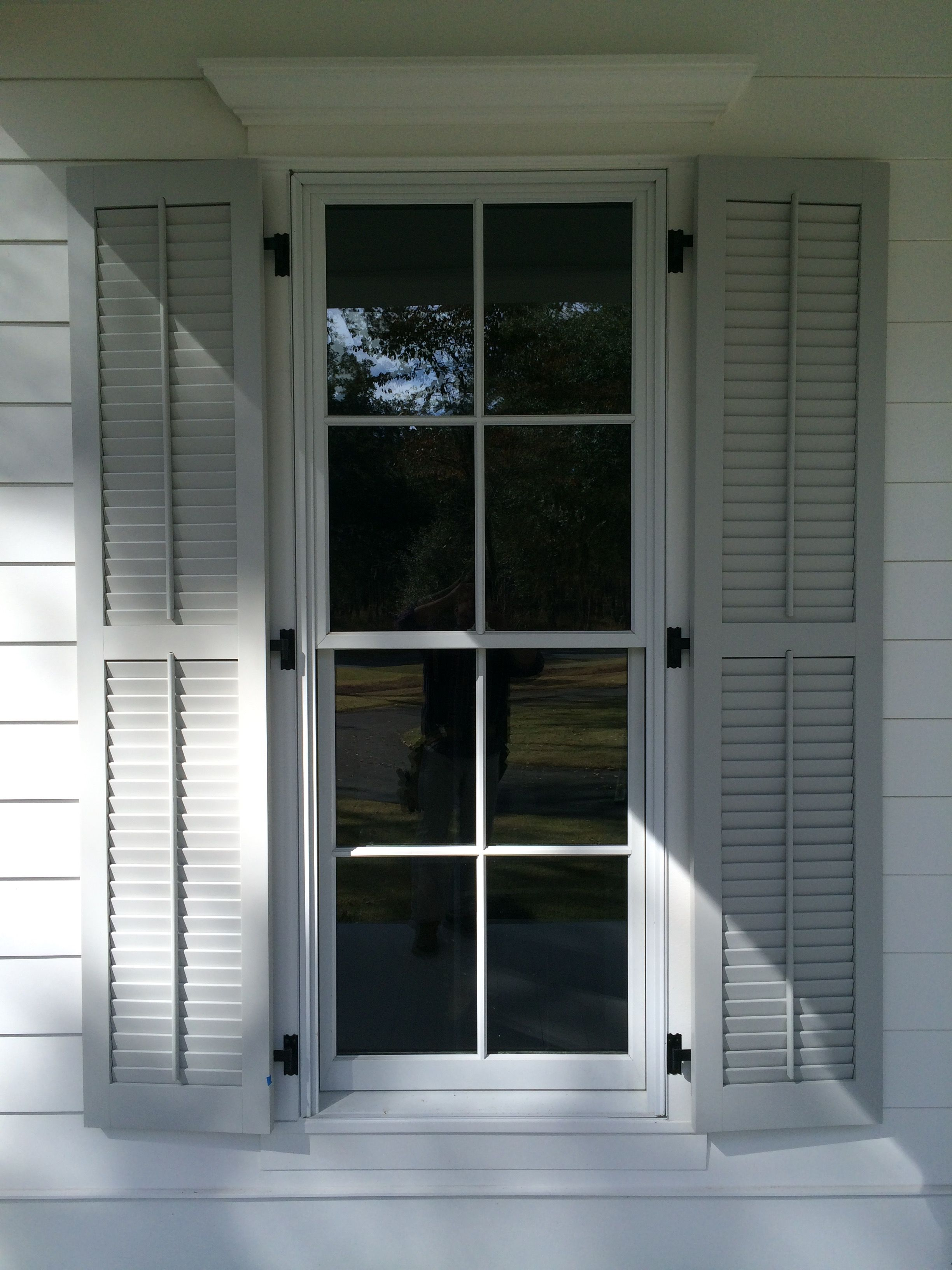 Painted 1 34 Louver Exterior Shutters Exterior Wood Shutters In