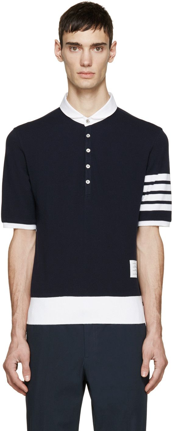 Navy Classic Pique Polo Thom Browne With Paypal Online Real Online Ebay Sale Online Cheap Limited Edition ONOSKQL3k1