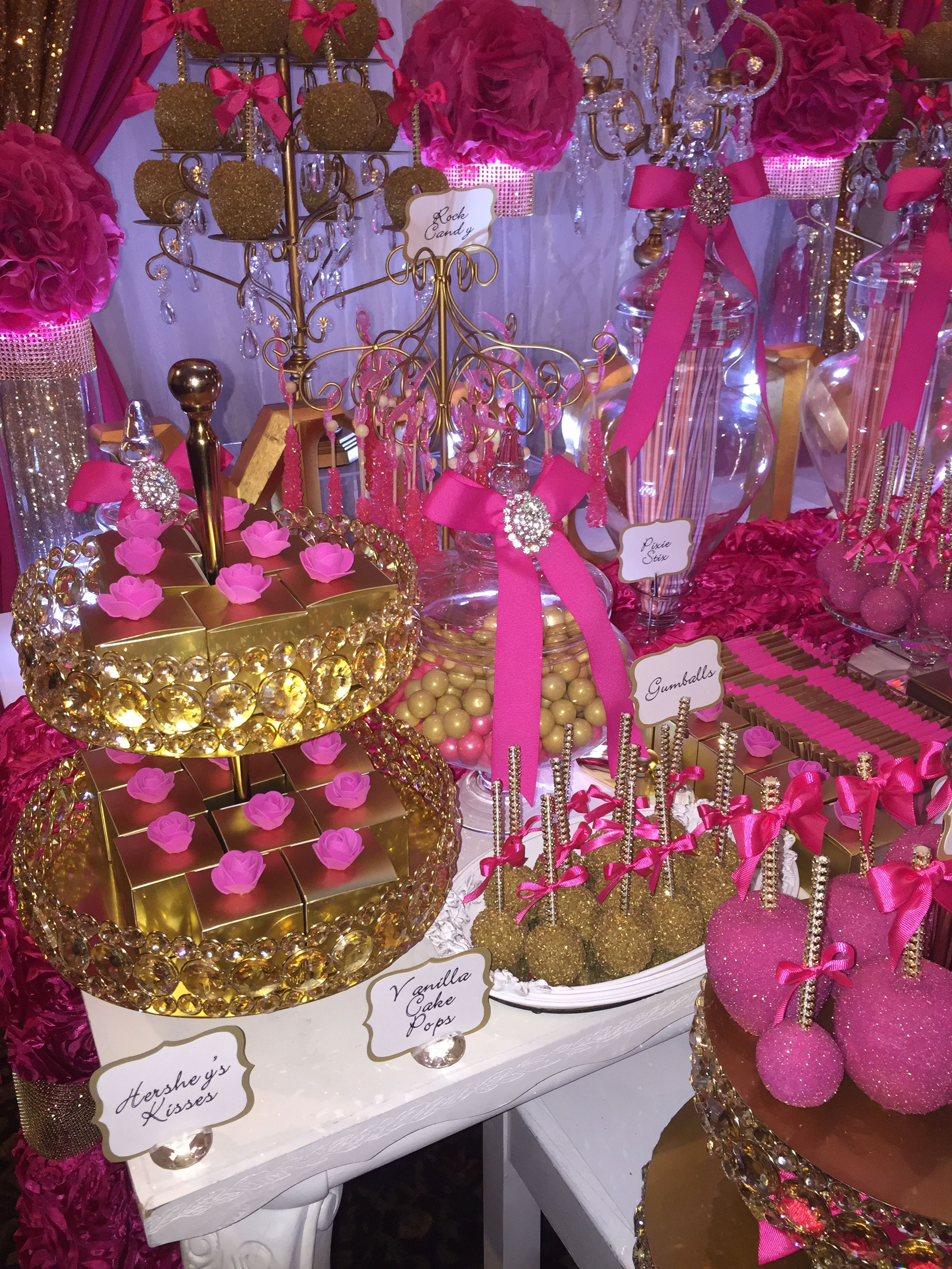 Fuschia Pink And Gold Wedding Sweets Table With Chocolate