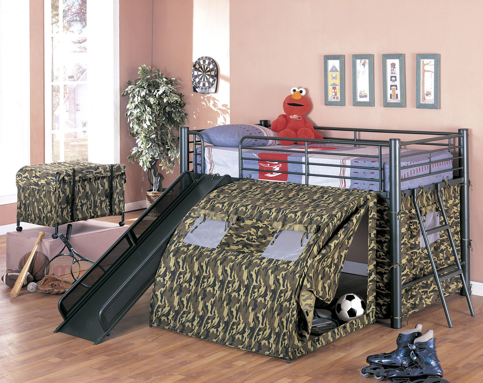 G.I Twin Low Loft Bed with Slide and Tent | Wayfair