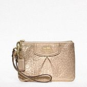 Coach Madison Collection- Madison Embossed Metallic Leather Small Wristlet