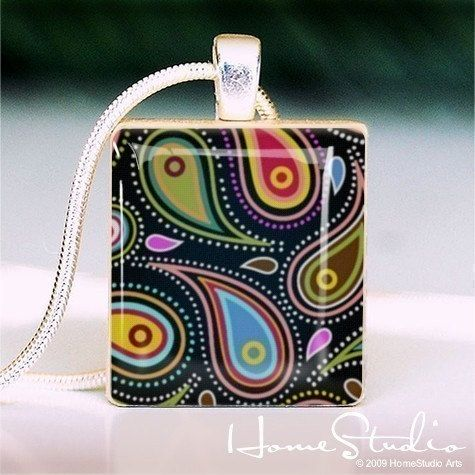 PAISLEY Black  a jewelry pendant charm made from a by HomeStudio, $9.00