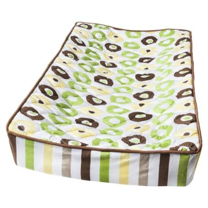 Bacati Green/yellow/chocolate Mod Dots/Stripes changing pad cover