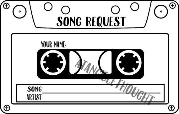 Sheet Of 12 Karaoke DJ Song Request Cards Tape Cassette