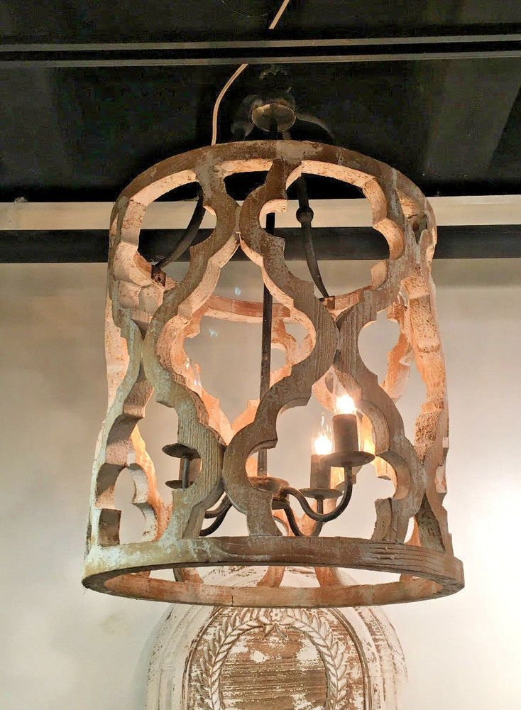 Rustic French Large Boho Anthropologie Style White Washed Wood Chandelier