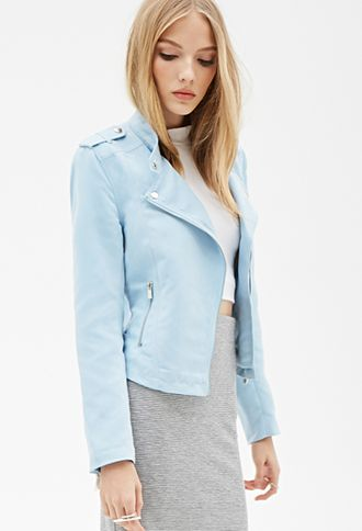 ba353e006 Faux Suede Moto Jacket | FOREVER21 - The perfect pastel for Spring ...