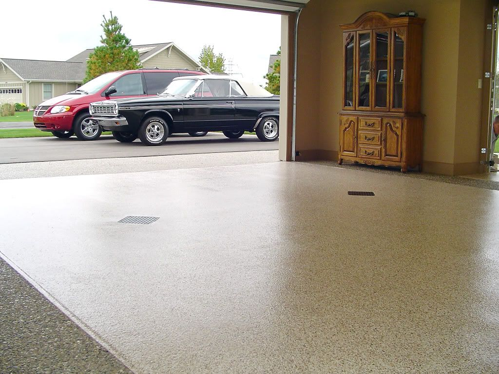 Garage Floor Shows Our Different Colors And Sizes Of Chips