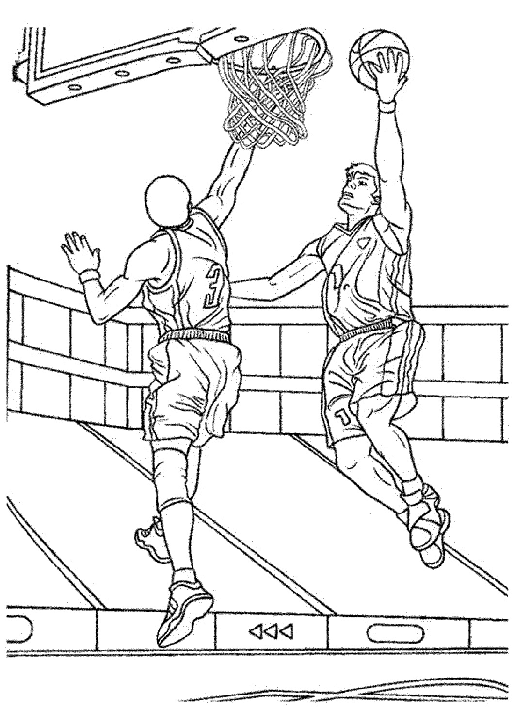 Basketball Color Pages Jumping
