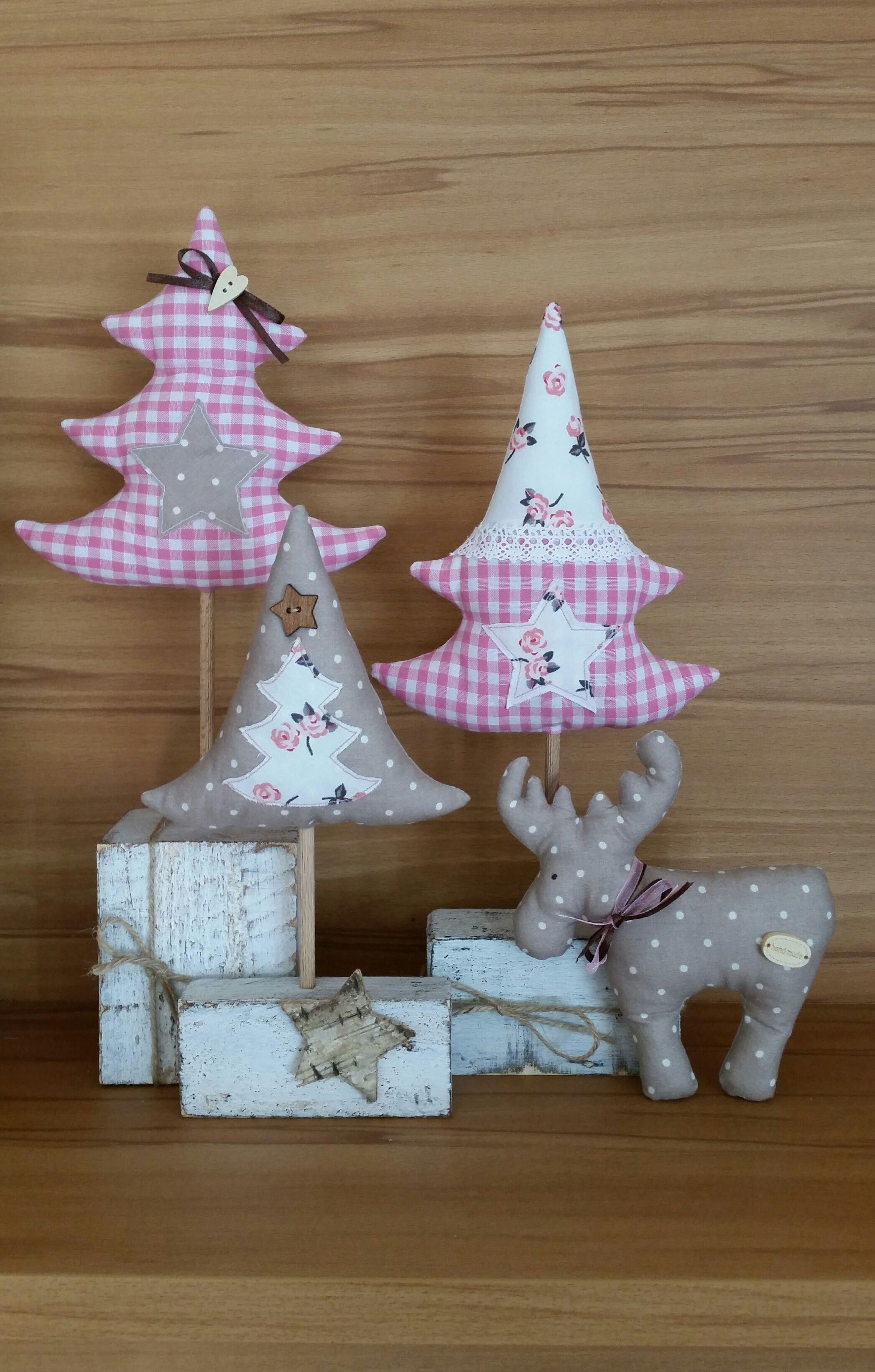 Tannen Bäume Elch genäht Tilda-Art Holz-Pfosten Weihnachten X-MAS ...