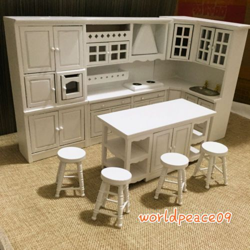dollhouse miniature white integrated kitchen furniture set 52 Attractive Model Dollhouse Kitchen Sets id=39753