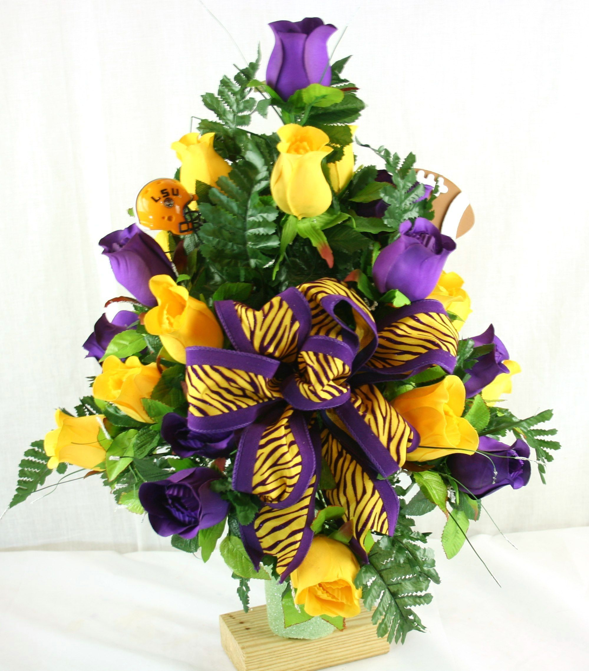 LSU Tiger s Purple and Yellow Roses sympathy Arrangement
