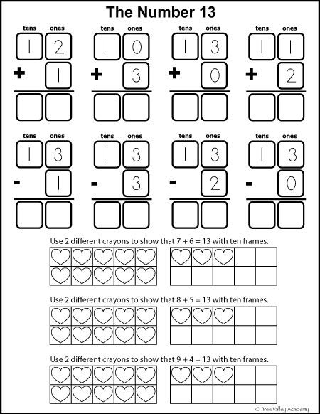 Number Bonds to 13 Free Math Worksheets | Learning numbers, Number ...