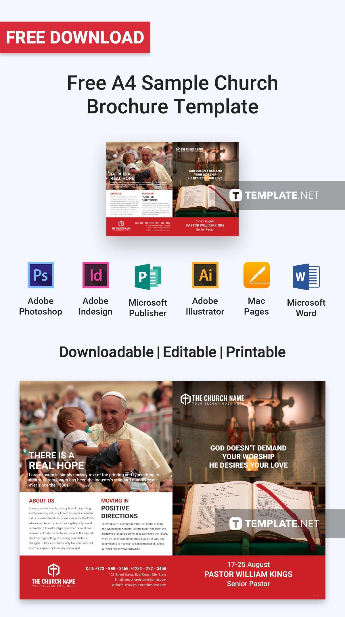 free a4 sample church brochure brochure templates design 2019