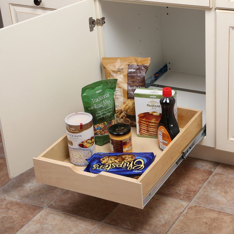Sliding Shelf SoftClose Wood Drawer Box is part of Spice Organization Slide - This Soft Close Wood Multi Use Basket is perfect for kitchen or bathroom storage  The basket glides out of the cabinet on luxurious softclose slides eliminating slamming  The boxes are constructed with solid wood sides and bottom