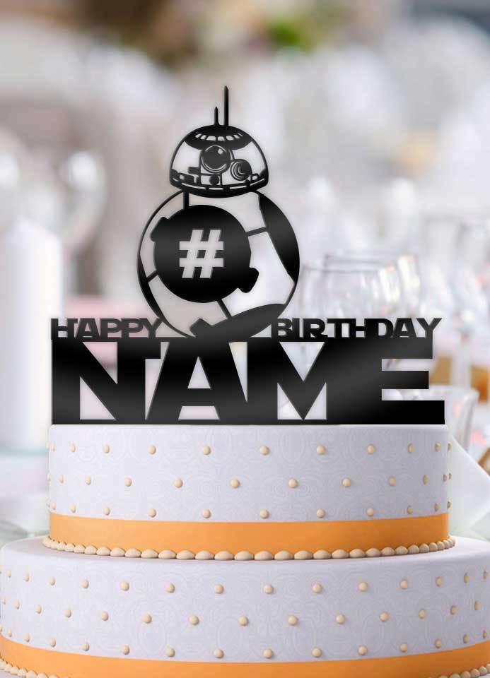 Phenomenal Personalized Star Wars Bb 8 Happy Birthday With Age Birthday Cake Personalised Birthday Cards Fashionlily Jamesorg