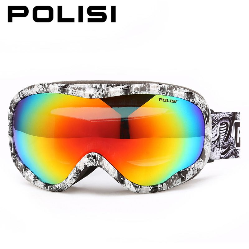 2abe3578c94 POLISI Men Women Snowboard Ski Goggles Double Layer Anti-Fog Lens Skiing  Eyewear Winter Skateboard