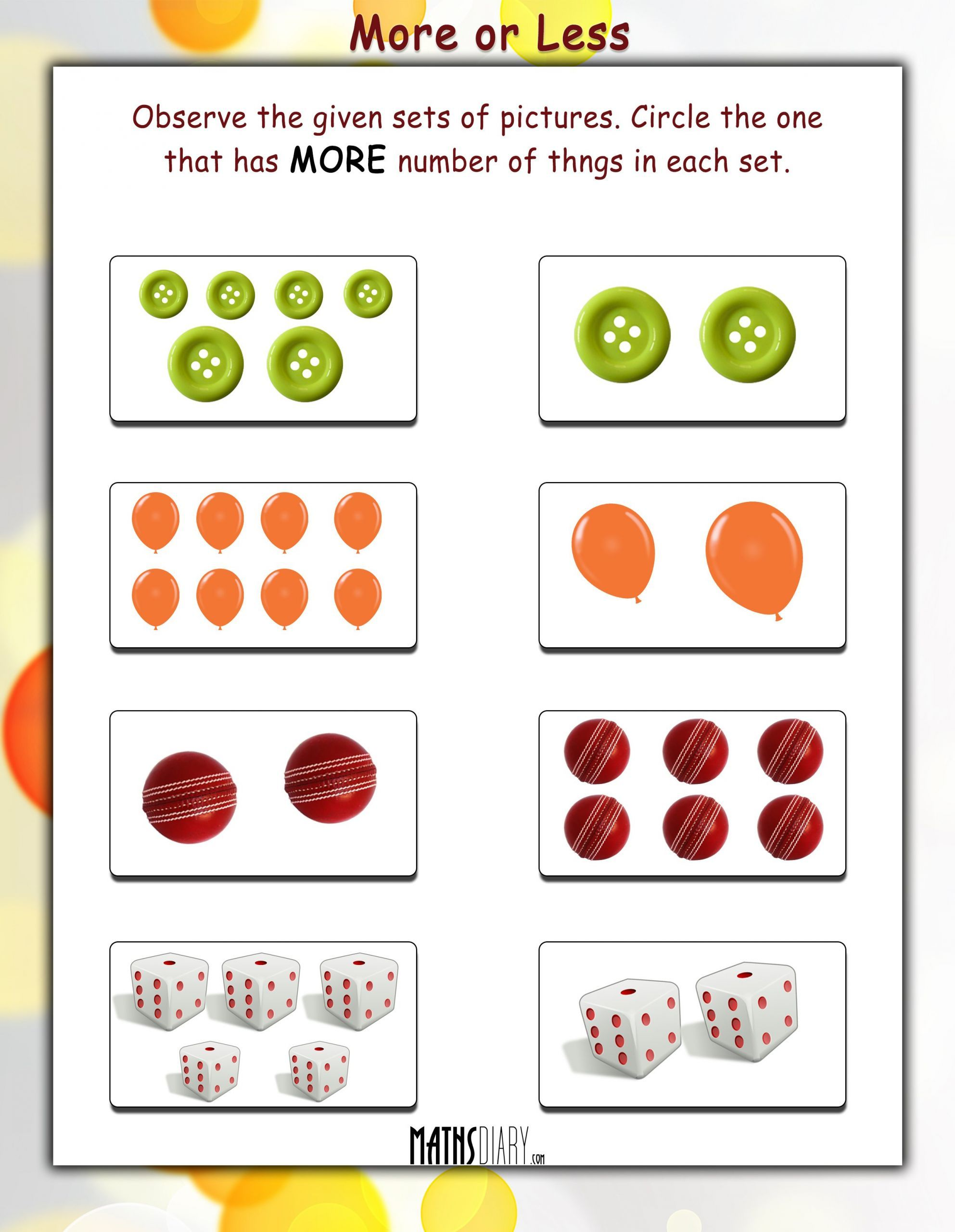 7 More Or Less Activity Worksheet In