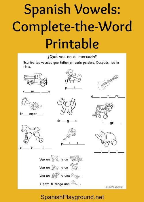 Spanish Vowels Vocabulary And Rhyme In A Free Printable The Activity Reinforces Toy And Animal Vocabulary From A Free Spanish Playground And App