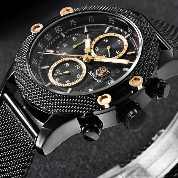 Sports Chronograph Fashion Watches Men Mesh & Rubber Band Waterproof Luxury Brand Quartz Watch #sportswatches