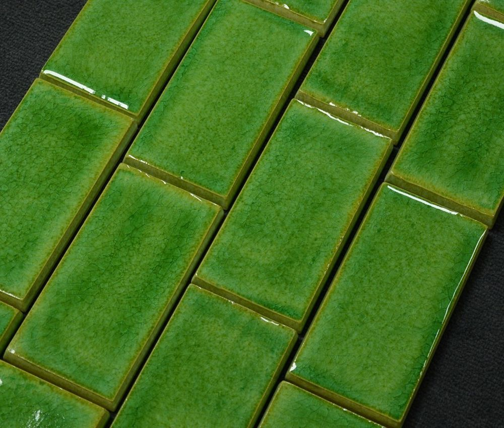 Wandfliese Terfuá Crystal verde grün glänzend Retro