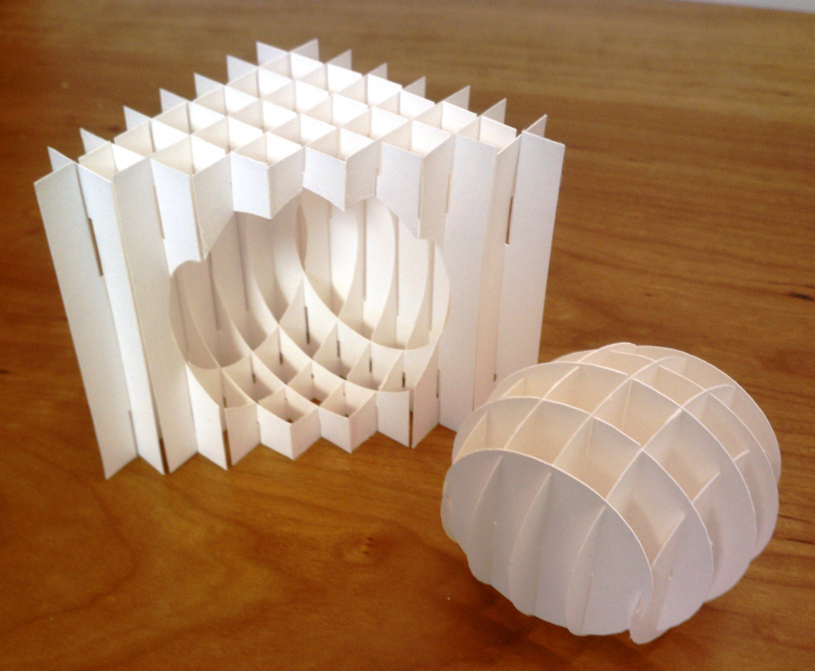 Sliceform spherically notched triangle with sphere | Paper ... - photo#26