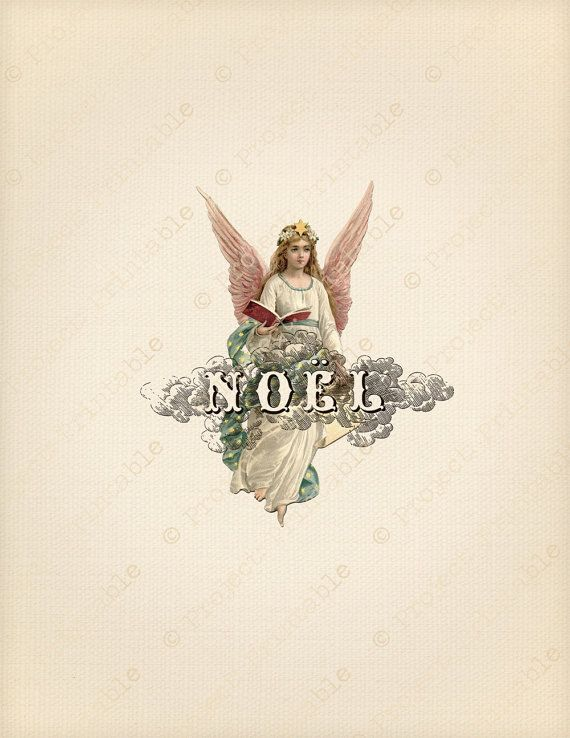 CHRISTMAS Instant Download Printable COLOR noel ANGEL - Fabric Image ...