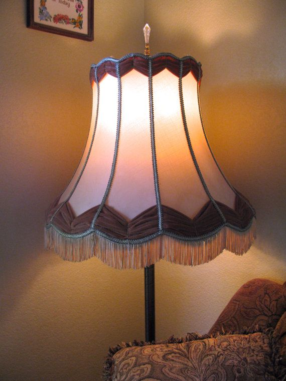 Mid Century Fabric Lampshade Large Floor By Foundsomewhereintime Standard Lamp Shades Fabric Lampshade Lamp