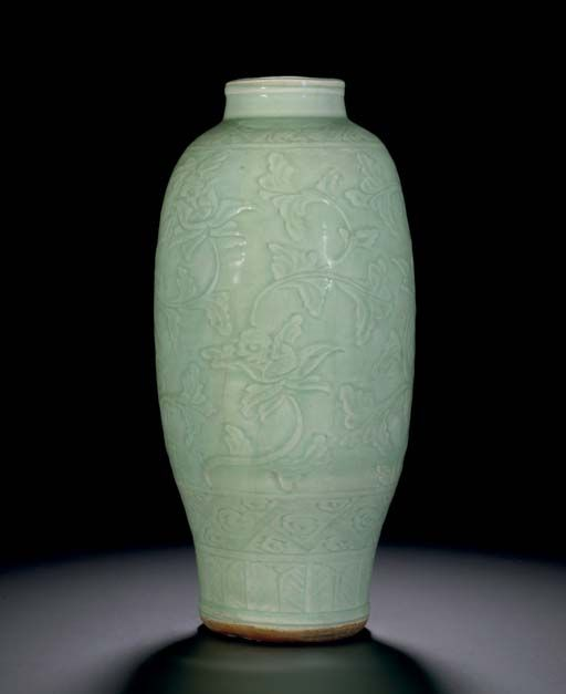 A Longquan Celadon Carved Baluster Vase Ming Dyansty 15th Century