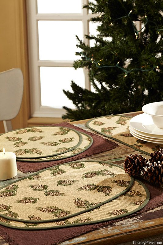 Victorian Heart Pine Cone Printed Burlap Tabletop Collection Printing On Burlap Placemats Pine Cones