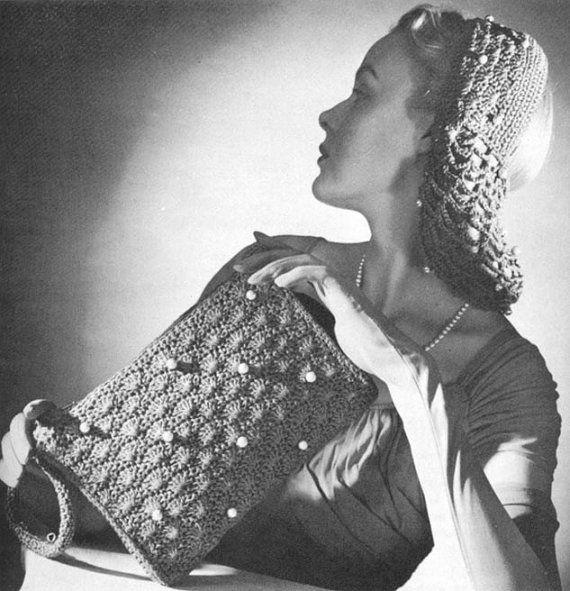 1946 Snood and Bag Set Vintage Crochet Patterns PDF 169 | carteras ...