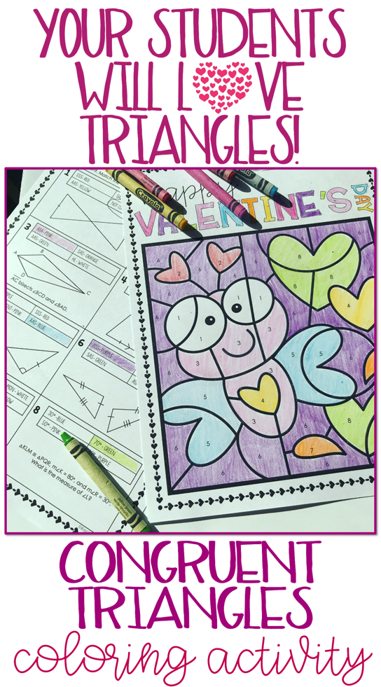 Congruent Triangles Geometry Valentine S Day Coloring Activity