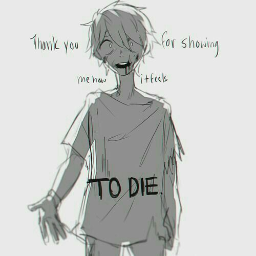 Thank you for showing me how it feels to die sad text anime boy blood