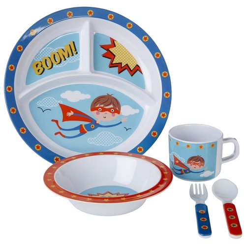 Zoomie Kids Bohanan 5 Piece Melamine Dinnerware Set Service For 1 Kids Dinner Sets Melamine Dinnerware Sets Melamine Dinnerware