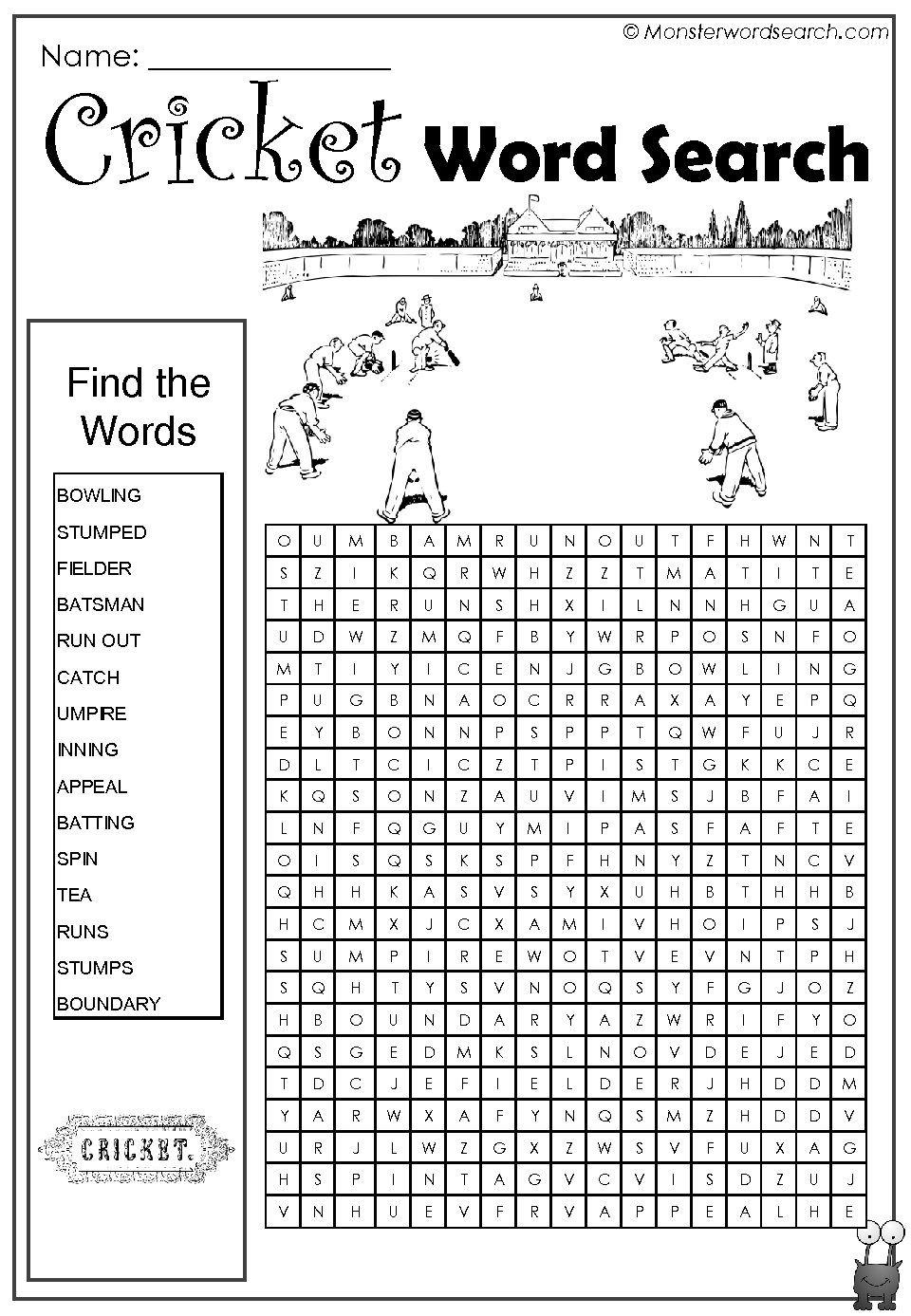 Cricket Word Search Kids Word Search Free Printable Word