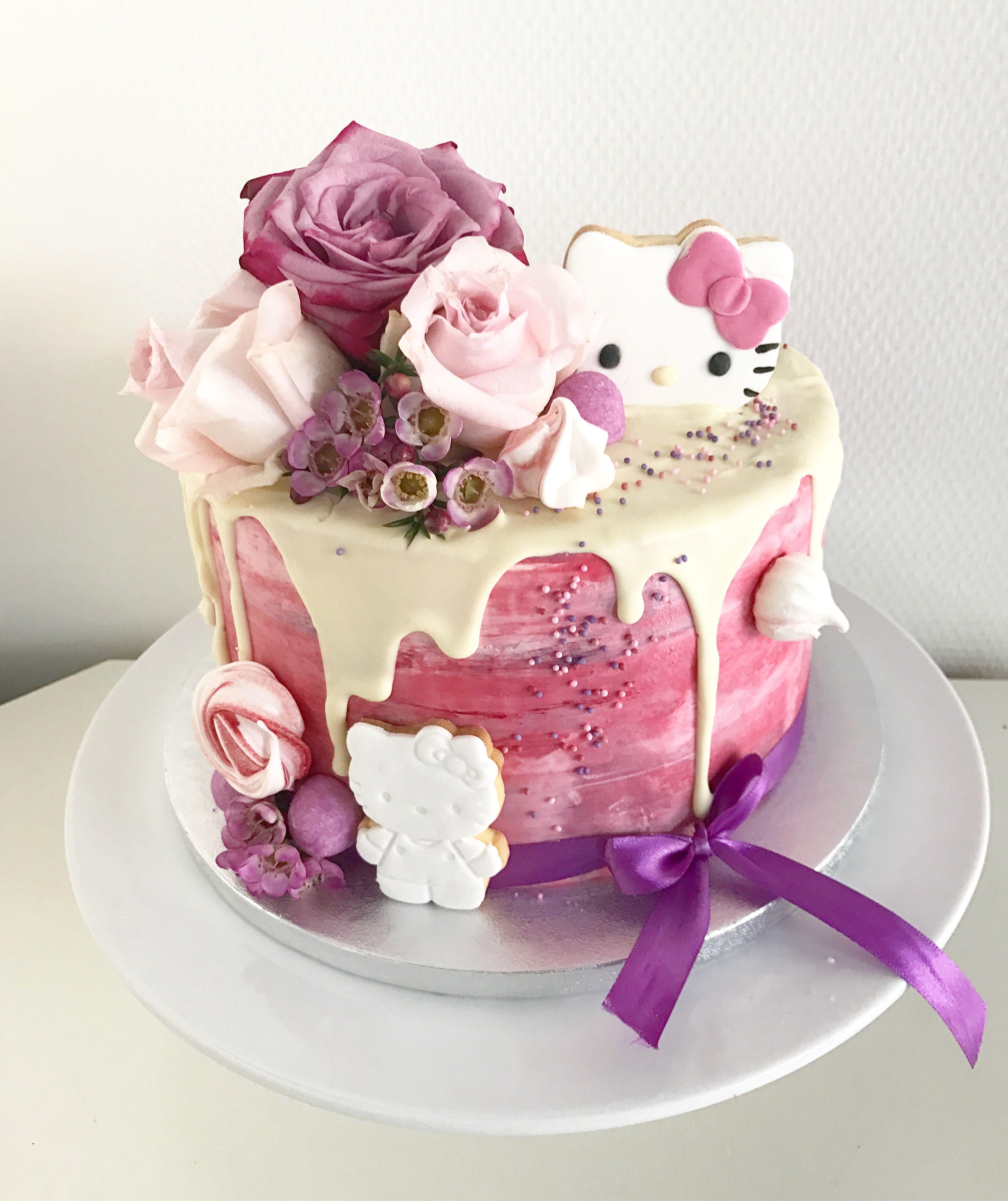 Hello Kitty Drip Cake Hello Kitty Cake Hello Kitty Birthday Party Ideas Cake Kids Birthday Cupcakes