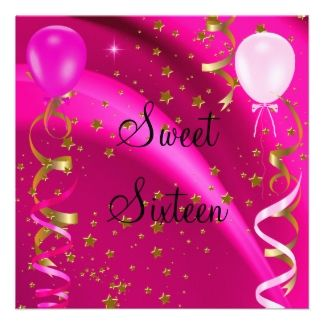 Sweet Sixteen 16 Birthday Party Pink Stars Personalized Invitation