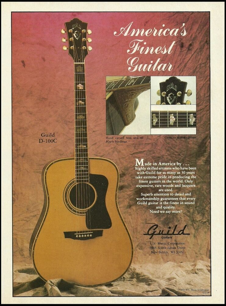 Guild D 100c Acoustic Guitar Original 1992 Advertisement 8 X 11 Ad Print Guild Guitar Guild Guitars Acoustic Guitar