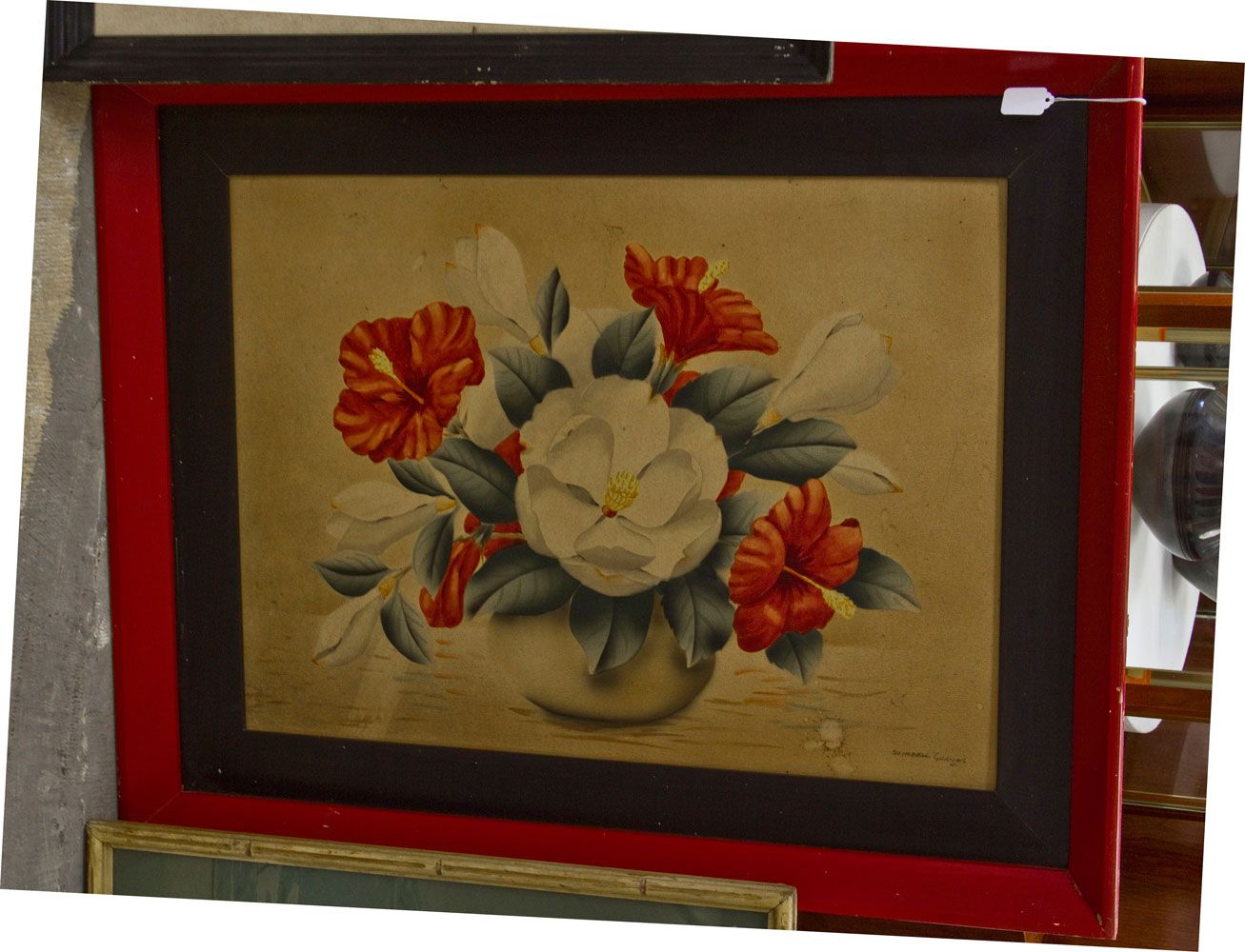 Shirrell Graves vintage Hawaiian art, hibiscus painting