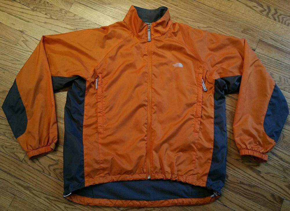 North Face Stow Orange Windbreaker lightweight Jacket Men Large ...
