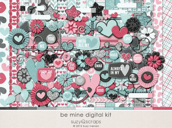 Be mine! Valentines Day! LOVE! Digital scrapbook kit by SuzyQ Scraps. Coordinating pocket cards available too. And glitter papers. And flat elements, word strips.